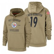 Wholesale Cheap Pittsburgh Steelers #19 JuJu Smith-Schuster Nike Tan 2019 Salute To Service Name & Number Sideline Therma Pullover Hoodie