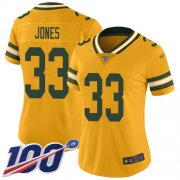 Wholesale Cheap Nike Packers #33 Aaron Jones Gold Women's Stitched NFL Limited Inverted Legend 100th Season Jersey