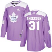 Wholesale Cheap Adidas Maple Leafs #31 Frederik Andersen Purple Authentic Fights Cancer Stitched Youth NHL Jersey