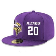Wholesale Cheap Minnesota Vikings #20 Mackensie Alexander Snapback Cap NFL Player Purple with White Number Stitched Hat