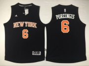 Wholesale Cheap Men's New York Knicks #6 Kristaps Porzingis Revolution 30 Swingman 2015-16 Black Jersey