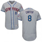 Wholesale Cheap Mets #8 Gary Carter Grey Flexbase Authentic Collection Stitched MLB Jersey