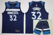 Wholesale Cheap Men's Minnesota Timberwolves #32 Karl-Anthony Towns New Navy Blue 2017-2018 Nike Swingman Stitched NBA Jersey With Shorts