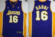 Wholesale Cheap Los Angeles Lakers #16 Paul Gasol Purple Swingman Jersey