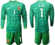 Wholesale Cheap Spain #1 De Gea Green Long Sleeves Goalkeeper Soccer Country Jersey