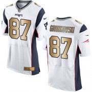 Wholesale Cheap Nike Patriots #87 Rob Gronkowski White Men's Stitched NFL New Elite Gold Jersey