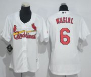 Wholesale Cheap Cardinals #6 Stan Musial White Women's Home Stitched MLB Jersey