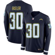 Wholesale Cheap Nike Chargers #30 Austin Ekeler Navy Blue Team Color Men's Stitched NFL Limited Therma Long Sleeve Jersey