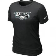 Wholesale Cheap Women's Nike Philadelphia Eagles Authentic Logo T-Shirt Black