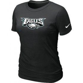 Wholesale Cheap Women\'s Nike Philadelphia Eagles Authentic Logo T-Shirt Black