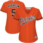 Wholesale Cheap Orioles #5 Brooks Robinson Orange Alternate Women's Stitched MLB Jersey
