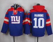 Wholesale Cheap Nike Giants #10 Eli Manning Royal Blue Player Pullover NFL Hoodie