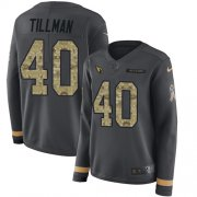 Wholesale Cheap Nike Cardinals #40 Pat Tillman Anthracite Salute to Service Women's Stitched NFL Limited Therma Long Sleeve Jersey
