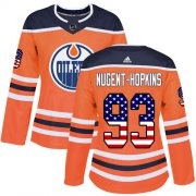 Wholesale Cheap Adidas Oilers #93 Ryan Nugent-Hopkins Orange Home Authentic USA Flag Women's Stitched NHL Jersey