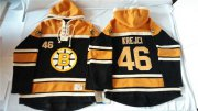 Wholesale Cheap Bruins #46 David Krejci Black Sawyer Hooded Sweatshirt Stitched NHL Jersey