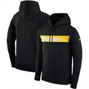 Wholesale Cheap Men's Pittsburgh Steelers Nike Black Sideline Team Performance Pullover Hoodie