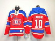 Wholesale Cheap Canadiens #10 Guy Lafleur Red Sawyer Hooded Sweatshirt Stitched NHL Jersey