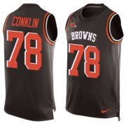 Wholesale Cheap Nike Browns #78 Jack Conklin Brown Team Color Men's Stitched NFL Limited Tank Top Jersey