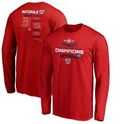 Wholesale Cheap Washington Nationals Majestic 2019 National League Champions Bloop Single Roster Long Sleeve T-Shirt Red