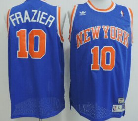 Wholesale Cheap New York Knicks #10 Walt Frazier Blue Swingman Throwback Jersey
