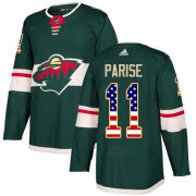 Wholesale Cheap Adidas Wild #11 Zach Parise Green Home Authentic USA Flag Stitched Youth NHL Jersey