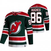 Wholesale Cheap New Jersey Devils #86 Jack Hughes Green Men's Adidas 2020-21 Reverse Retro Alternate NHL Jersey