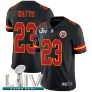 Wholesale Cheap Nike Chiefs #23 Armani Watts Black Super Bowl LIV 2020 Youth Stitched NFL Limited Rush Jersey