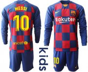 Wholesale Cheap Barcelona #10 Messi Home Long Sleeves Kid Soccer Club Jersey