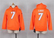 Wholesale Cheap Nike Broncos #7 John Elway Orange Youth Player NFL Hoodie