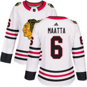 Wholesale Cheap Adidas Blackhawks #6 Olli Maatta White Road Authentic Women's Stitched NHL Jersey