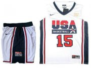Wholesale Cheap USA Basketball Retro 1992 Olympic Dream Team 15 Carmelo Anthony White Basketball Suit