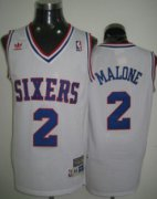 Wholesale Cheap Philadelphia 76ers #2 Moses Malone White Swingman Throwback Jersey