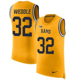 Wholesale Cheap Nike Rams #32 Eric Weddle Gold Men\'s Stitched NFL Limited Rush Tank Top Jersey