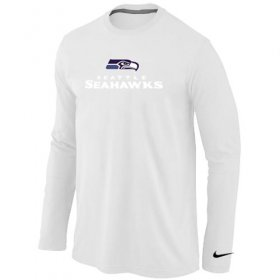 Wholesale Cheap Nike Seattle Seahawks Authentic Logo Long Sleeve T-Shirt White