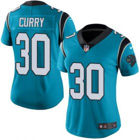 Wholesale Cheap Nike Panthers #30 Stephen Curry Blue Women\'s Stitched NFL Limited Rush Jersey