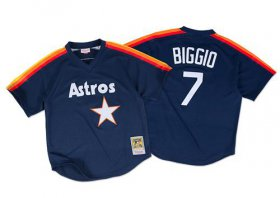 Wholesale Cheap Mitchell And Ness 1991 Astros #7 Craig Biggio Navy Blue Throwback Stitched MLB Jersey