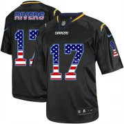 Wholesale Cheap Nike Chargers #17 Philip Rivers Black Men's Stitched NFL Elite USA Flag Fashion Jersey