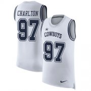 Wholesale Cheap Nike Cowboys #97 Taco Charlton White Men's Stitched NFL Limited Rush Tank Top Jersey