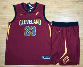 Wholesale Cheap Men\'s Cleveland Cavaliers #23 LeBron James Red 2017-2018 Nike Swingman Stitched NBA Jersey With Shorts