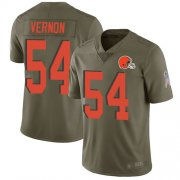 Wholesale Cheap Nike Browns #54 Olivier Vernon Olive Youth Stitched NFL Limited 2017 Salute to Service Jersey