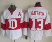 Wholesale Cheap Red Wings #13 Pavel Datsyuk White Winter Classic CCM Throwback Stitched NHL Jersey