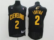Wholesale Cheap Cleveland Cavaliers #2 Kyrie Irving Revolution 30 Swingman Black With Gold Jersey