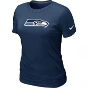 Wholesale Cheap Women's Nike Seattle Seahawks Logo NFL T-Shirt Dark Blue