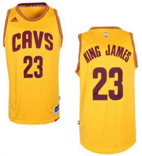 Wholesale Cheap Men\'s Cleveland Cavaliers #23 King James Nickname Revolution 30 Swingman 2014 New Yellow Jersey -Printed !!