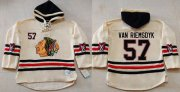 Wholesale Blackhawks #57 Trevor Van Riemsdyk Cream Heavyweight Pullover Hoodie Stitched NHL Jersey