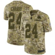 Wholesale Cheap Nike Browns #24 Nick Chubb Camo Youth Stitched NFL Limited 2018 Salute to Service Jersey