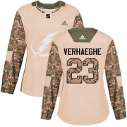 Cheap Adidas Lightning #23 Carter Verhaeghe Camo Authentic 2017 Veterans Day Women's Stitched NHL Jersey