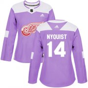 Wholesale Cheap Adidas Red Wings #14 Gustav Nyquist Purple Authentic Fights Cancer Women's Stitched NHL Jersey