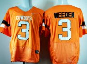 Wholesale Cheap Oklahoma State Cowboys #3 Brandon Weeden Orange Pro Combat Jersey