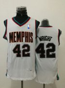 Wholesale Cheap Men's Memphis Grizzlies #42 Lorenzen Wright White Hardwood Classics Soul Swingman Throwback Jersey